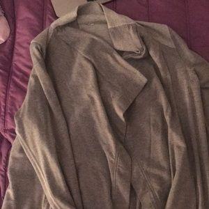 lucile on grey floppy sport cardigan
